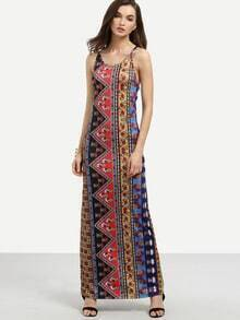 Multicolor Tribal Print Crisscross Cami Dress