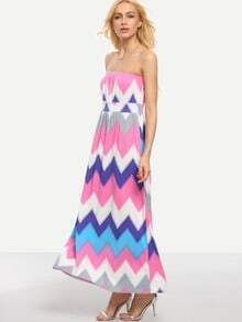 Multicolor Chevron Print Bandeau Dress