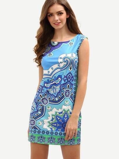 Blue Vintage Print Sheath Dress