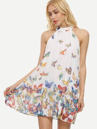 Butterflies Print Keyhole Back Swing Dress