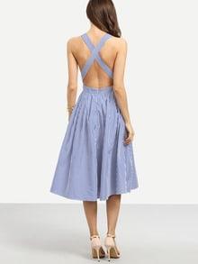 Striped Criss Cross Back Swing Dress