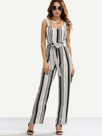 Black and White Striped Tie Waist Backless Jumpsuit
