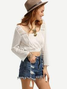 White Long Sleeve Scoop Neck Crop Blouse