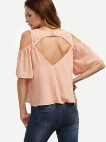 Pink Cold Shoulder Cutout Blouse