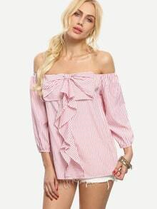 Pink Striped Bow Off The Shoulder Blouse