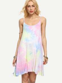 Multicolor Tie-dye Spaghetti Strap Asymmetrical Dress