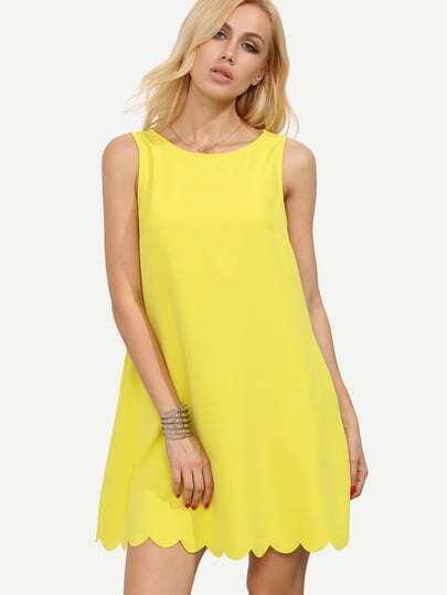 Yellow Sleeveless Scalloped Hem Shift Dress