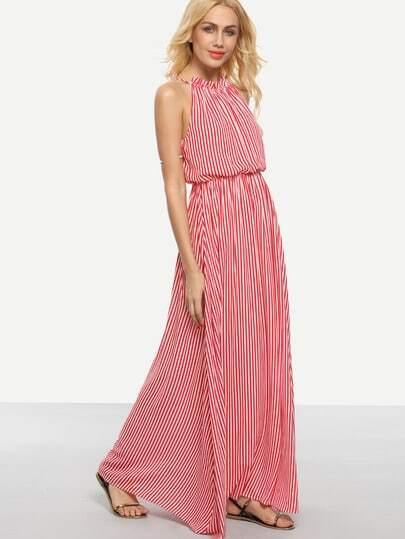 Red Striped Tie Sleeveless Maxi Dress