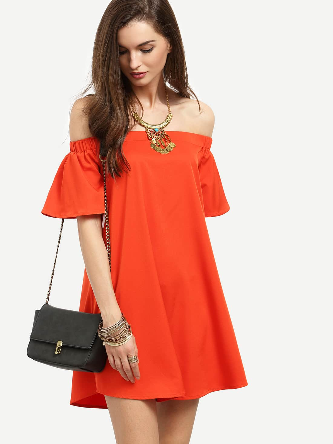 Bardot Flounce Sleeve Flare Dress flounce flare sleeve dress