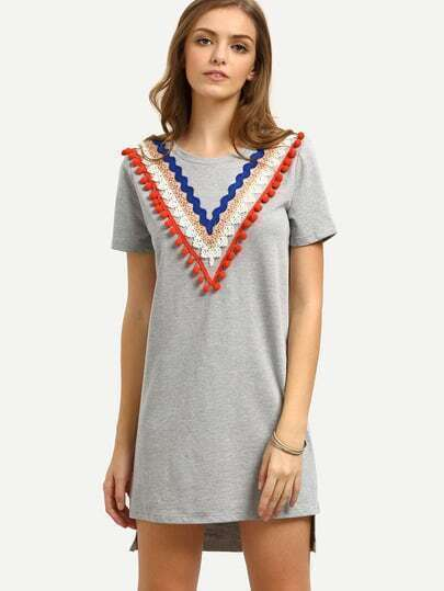 Grey Pom-pom Decorated Short Sleeve Asymmetrical Dress