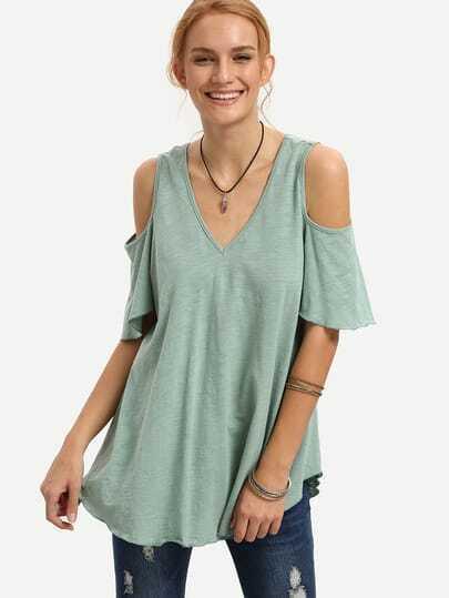 Green V Neck Cold Shoulder T-shirt