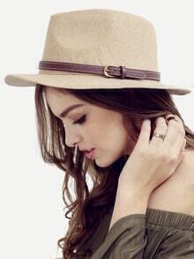 Beige Vintage Large Brimmed Hat