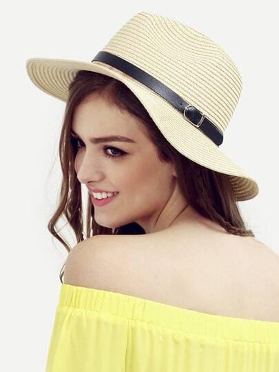 Beige Beach Large Brimmed Straw Hat