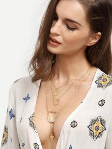 Multilayer Geometric Pendant Necklace
