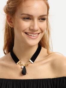 Dual-layered Tassel Pendant Necklace