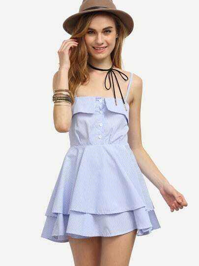 Blue Vertical Striped Fold Over Buttoned Front Dress