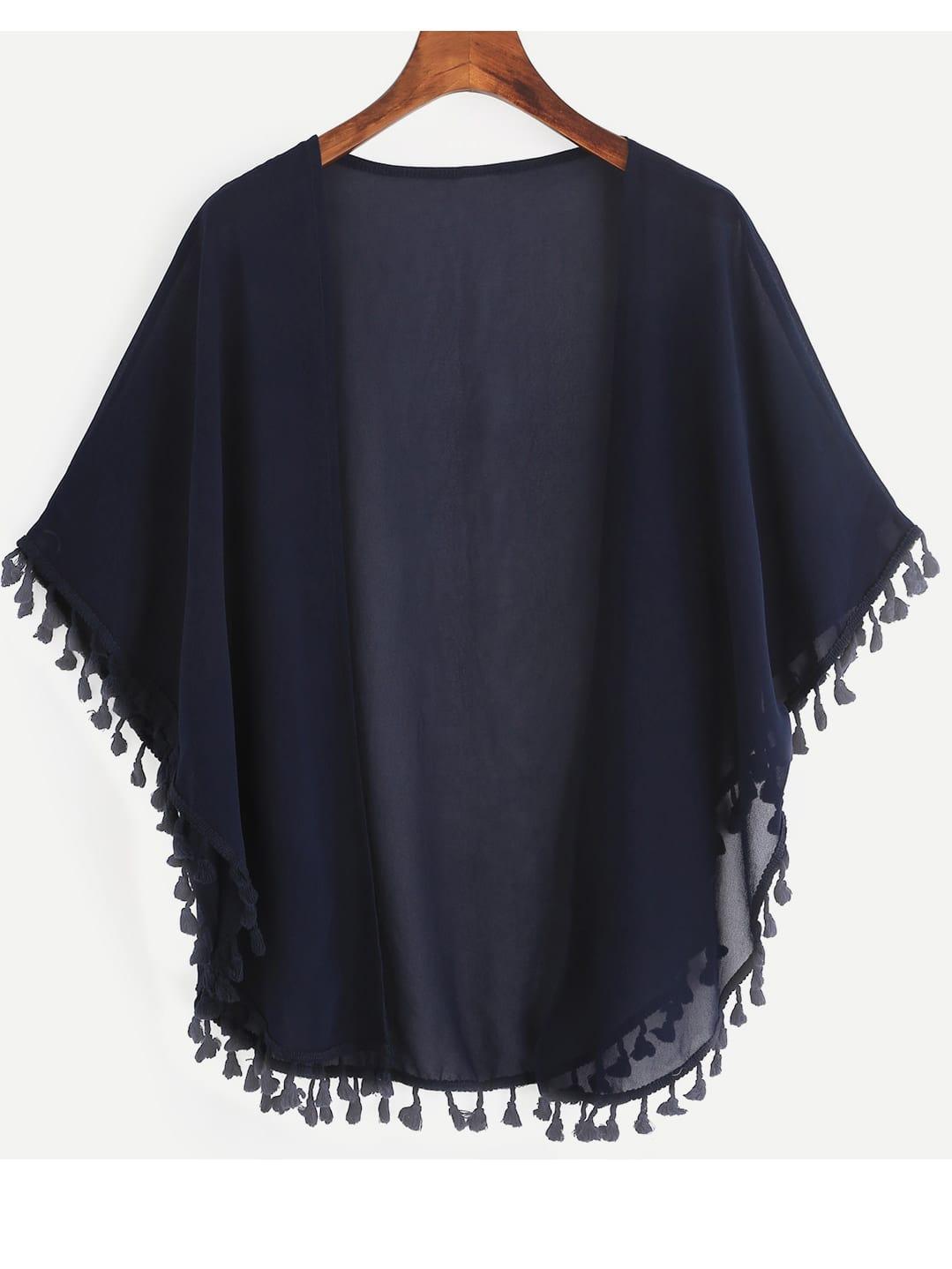 Tasseled Trimmed Open Front Chiffon Kimono