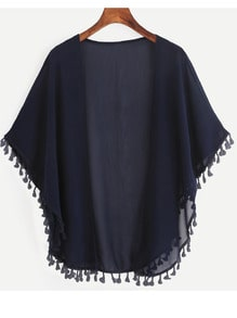 Navy Tassel Trimmed Open Front Chiffon Kimono