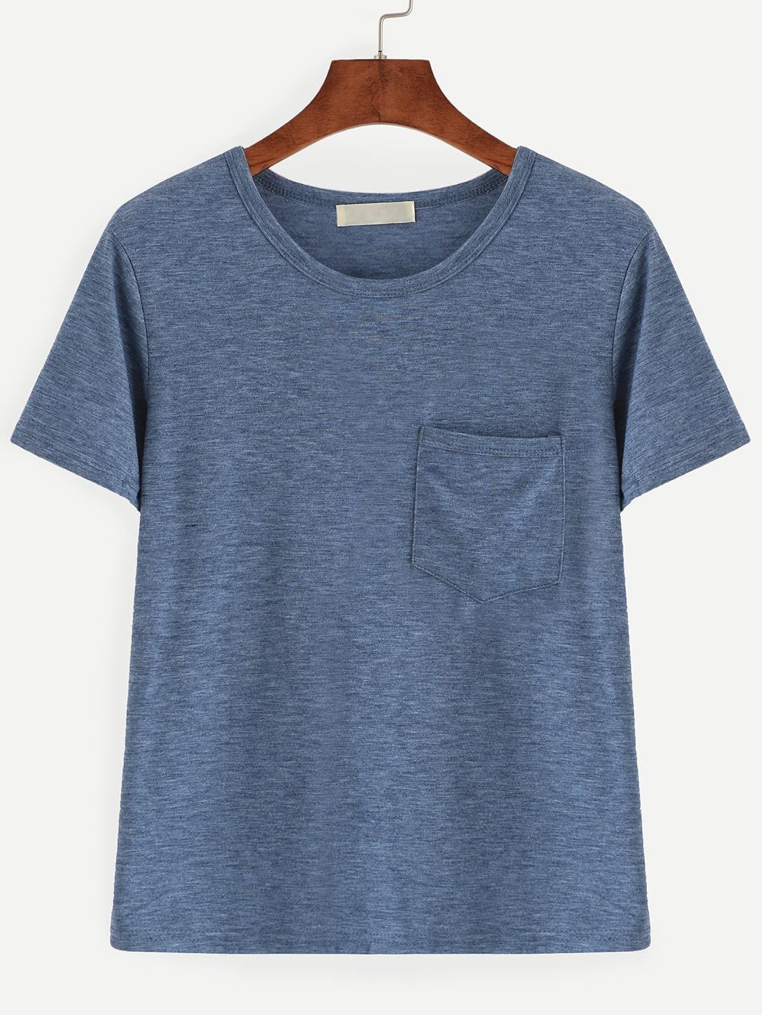 Slub t shirt with chest pocket shein sheinside for What is a slub shirt
