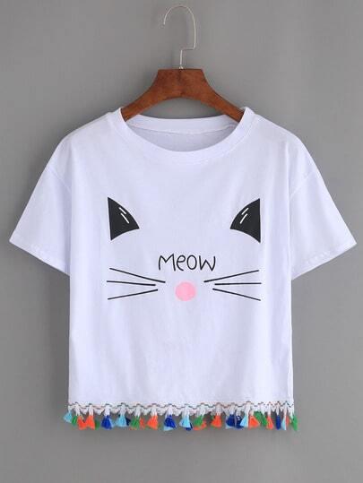 Белая футболка с принтом Cat с оригинальной отделкой