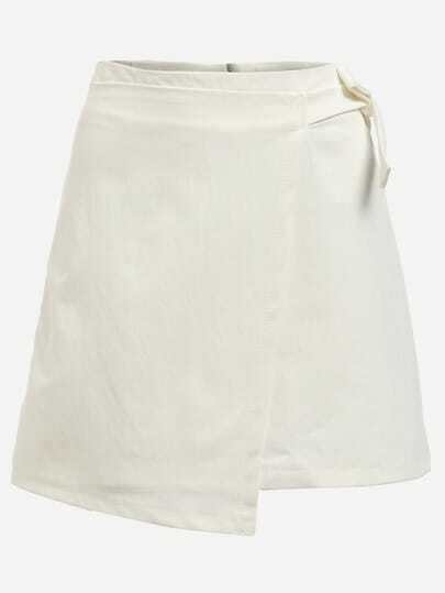 White Self Tie A-Line Wrap Skirt