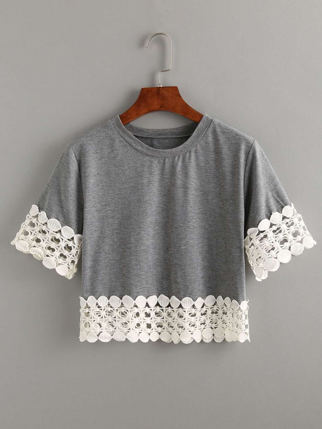 Crocheting T Shirts : Grey Crochet Trimmed Crop T-shirt -SheIn(Sheinside)