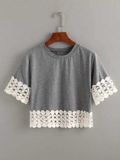 Crochet Trimmed Crop T-shirt