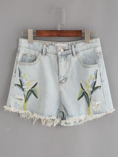 Pale Blue Raw Hem Embroidered Denim Shorts
