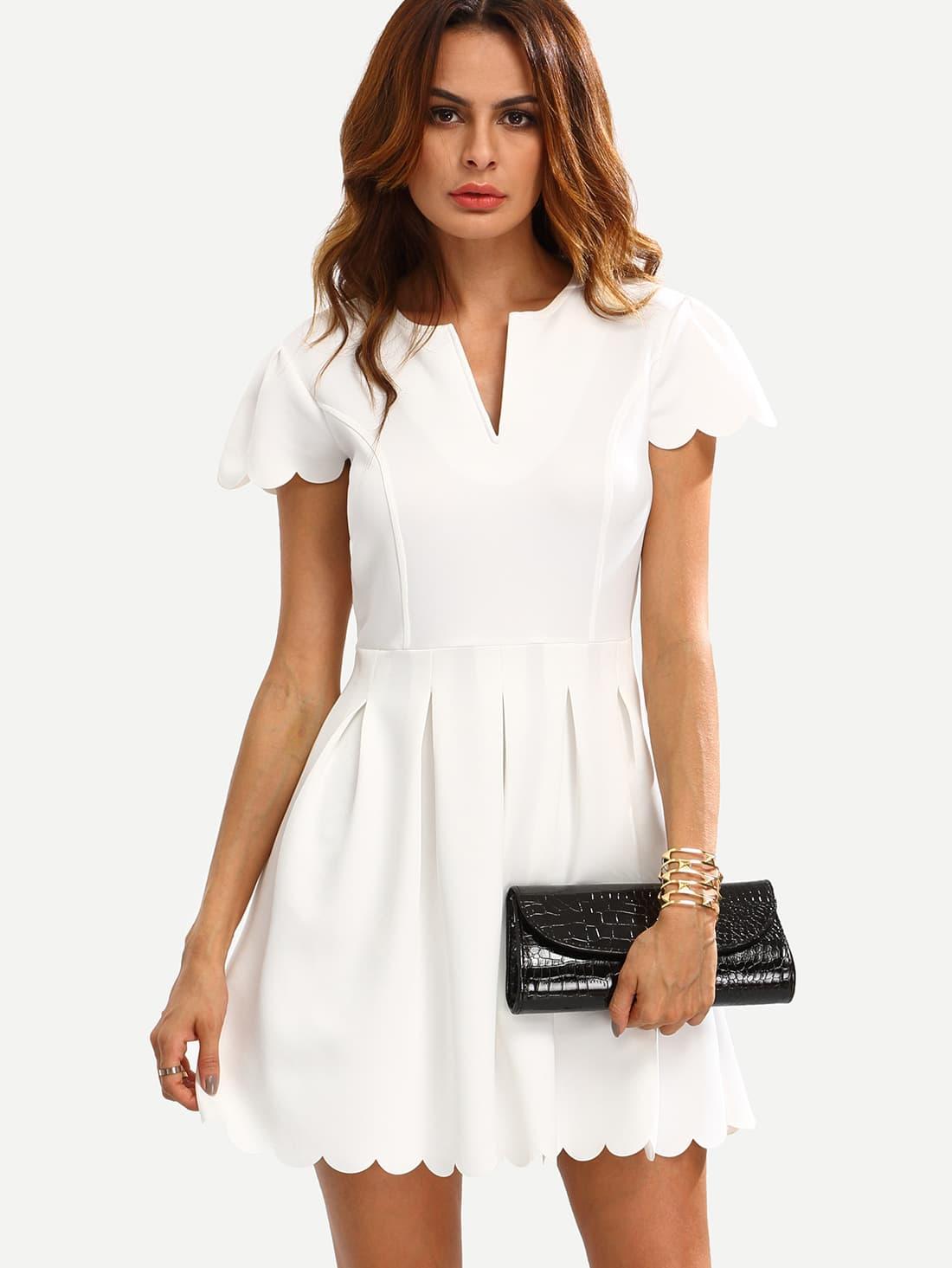 Купить Белое модное платье с фестонами, Andy, SheIn