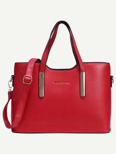 Red Metal Plate Embellished Tote Bag With Strap