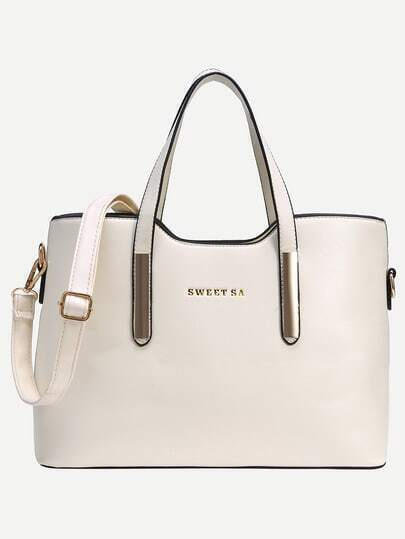 White Metal Plate Embellished Tote Bag With Strap