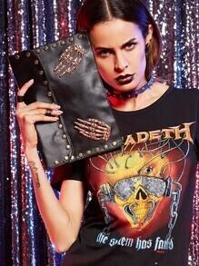 Metal Skeleton Hand Studded Clutch Bag