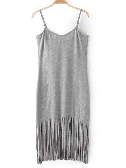 Grey Adjustable Spaghetti Strap Fringe Dress