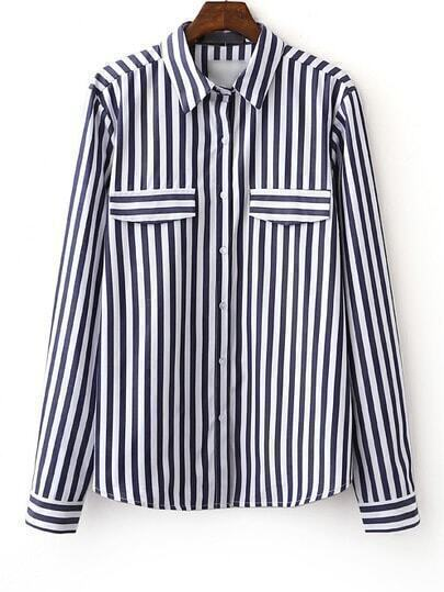 Navy Long Sleeve Stripe Lapel Buttons Front Blouse