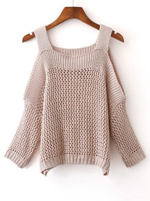 Apricot Cold Shoulder Gigot Sleeve Knit Sweater