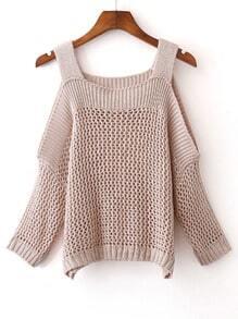 Jersey hombro frío tejido -albaricoque