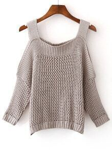 Khaki Cold Shoulder Gigot Sleeve Knit Sweater