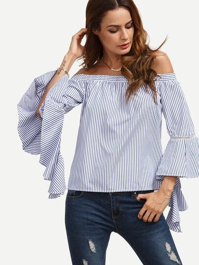 Pinstriped Off Shoulder Flare Sleeve Top