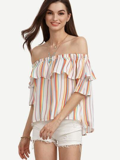 Colored Vertical Striped Ruffle Off The Shoulder Blouse