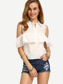 White Lapel Button Cold Shoulder Blouse