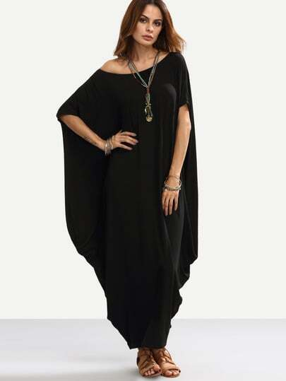 Black One Shoulder Dolman Sleeve Maxi Dress