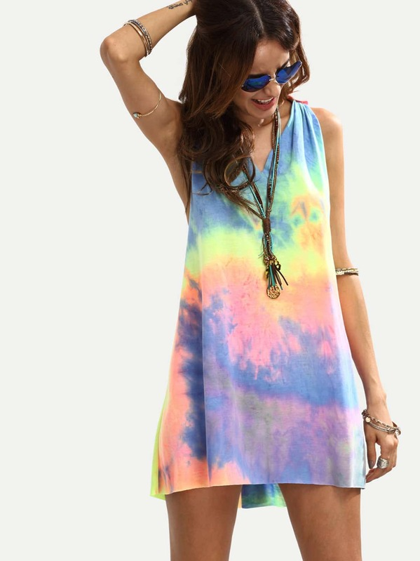 Multicolor Tie-dye V Neck Sleeveless Knotted Shift Dress, Andy
