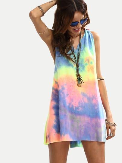 Vestido tie-dye escote V sin manga holgado -multicolor