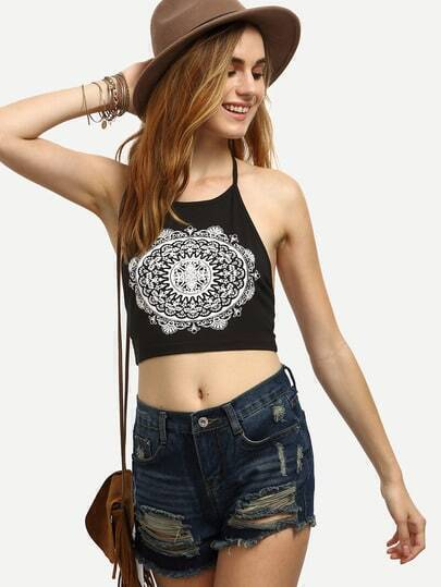 Black and White Print Halter Backless Crop Top