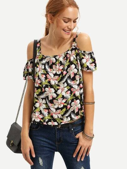 Multicolor Floral Cold Shoulder Blouse