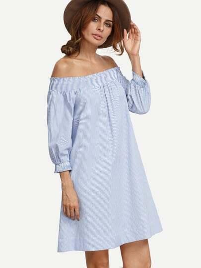 Blue Striped Pocket Elasticated Off The Shoulder Dress