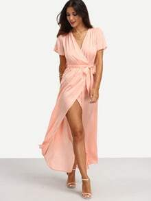 Pink Tie Waist V Neck Short Sleeve Split Dress
