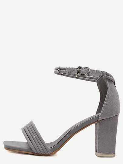 Grey Peep Toe Ankle Strap Chunky Sandals