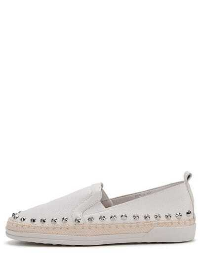 White Round Toe Rivet Thick-soled Flats