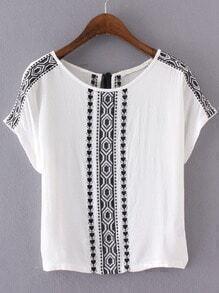 White Embroidery Key-hole Tassel Back Blouse
